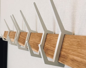 Exclusive wooden coat & hat rack, Wooden rack with removable hooks, Stylish oak wood rack with sliding hooks, Entryway coat hooks,Home decor
