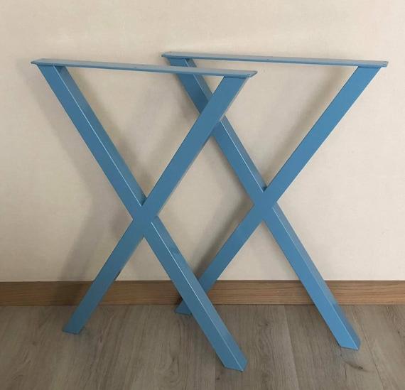 SET of 2 X-type metal dining table legs, Industrial style table legs, Steel  metal table legs, Dining table legs, Kitchen table legs, Loft