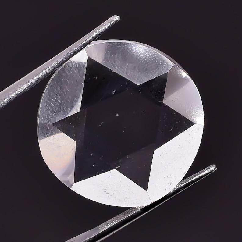 Crystal Quartz Cut Cabochon Wt-24 Ct  21x21x5 mm Natural Faceted Quartz AAA++Amazing Quality Star Cutting Loose Gemstone.
