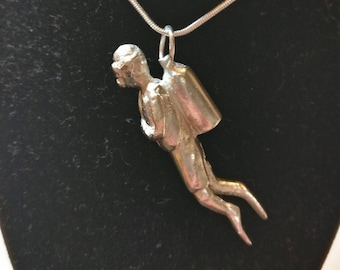 Hand Made, Limited Edition, Fully Hallmarked Solid Silver 'Scuba Diver' Pendant.