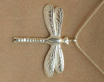 Limited Edition, Fully Hallmarked Solid Silver Dragonfly pendant.