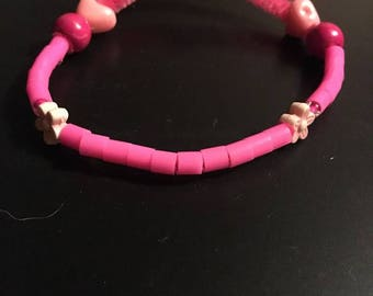 Pink fuzzy bracelet