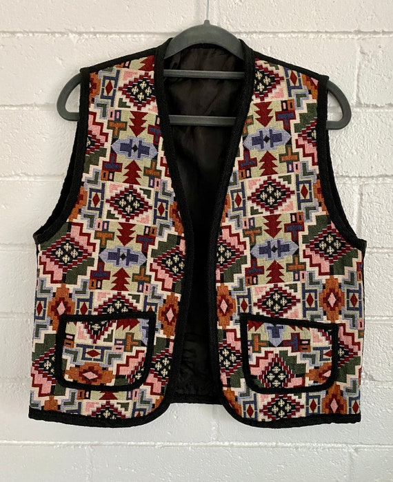 VINTAGE PARAGRAPH 80s grey tone tapestry vest  textile woven carpet medium  psychedelic abstract geometric tribal   vibrant Unisex Andro