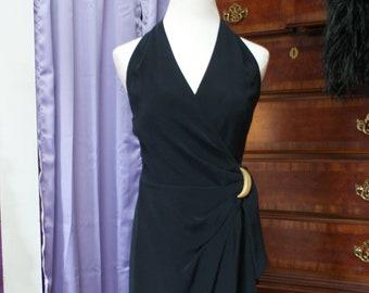 5b627c0e74ae6 Size 4, Jones New York, Black Halter Wrap Dress