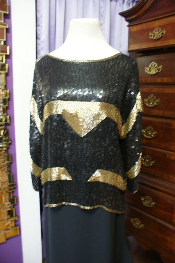 Vintage Black and Gold Sequined and Beaded Top