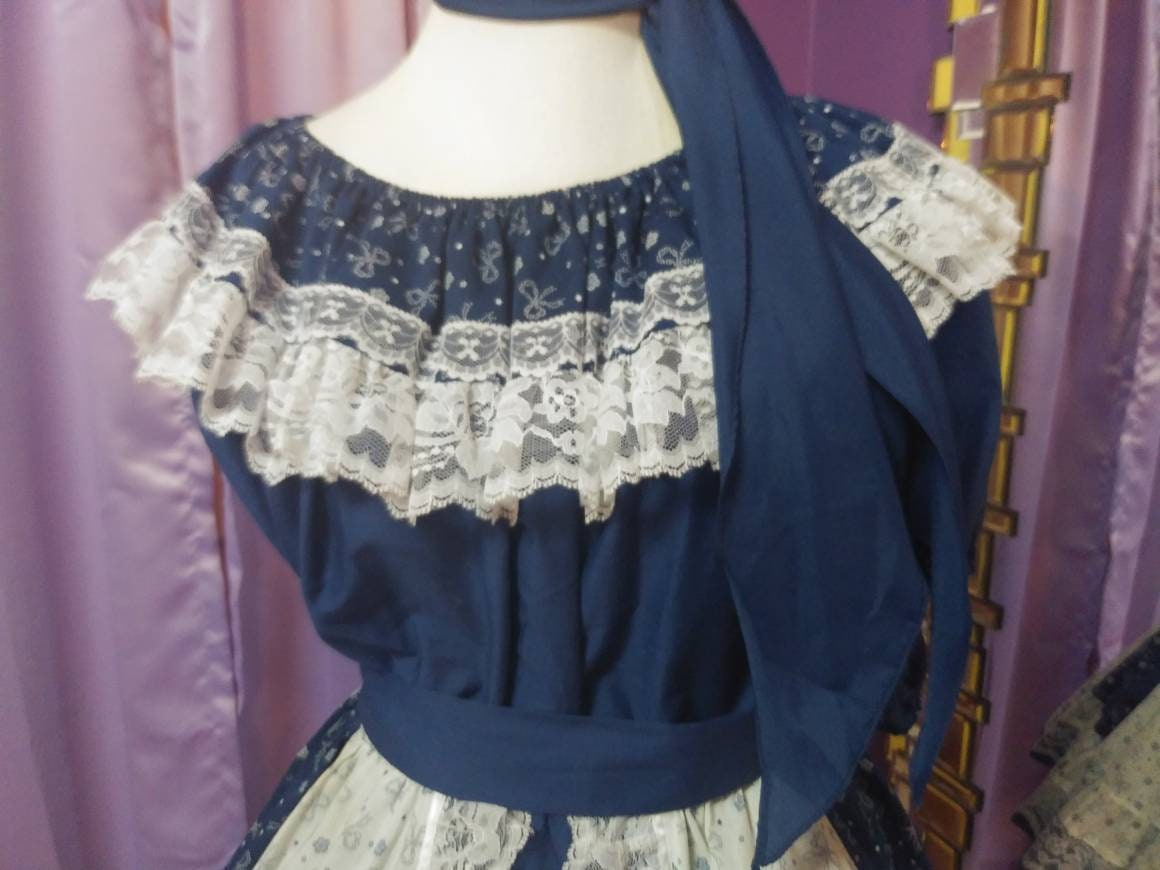 Vintage Scarf Styles -1920s to 1960s Vintage Square Dancing Outfit By Pitchfork Brand, Size L $115.00 AT vintagedancer.com