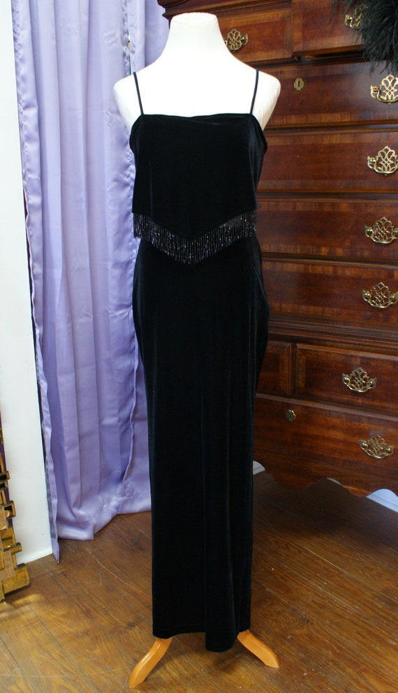 Size M, Black Velvet Beaded Evening Gown