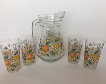 Vintage French Glass Pitcher set with 4 Glasses