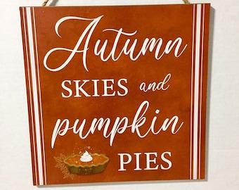 hello fall autumn decor pumpkin signs pumpkin pies rustic fall decor autumn skies set of 3 Wood fall signs