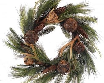 Rustic wreath, deer wreath, deer antler wreath, lodge wreath, cabin wreath, Pine Cone Buckhorn Balls Needle Pine Mixed Wreath - Coffee