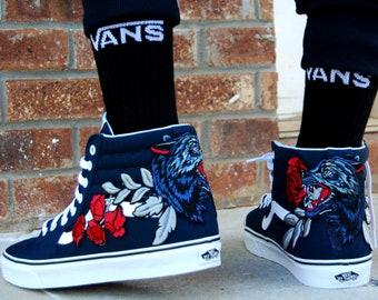 Custom Embroidered Rose Wolf Vans sneakers shoes, rose vans, custom rose vans, rose embroidered vans, custom vans