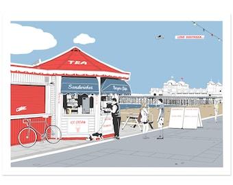 Seafront Kiosk - Portsmouth coastal artwork by Jim Chambers