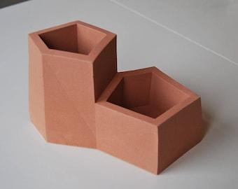 Terracotta Cast Stone Desk Tidy Pen Pot Planter