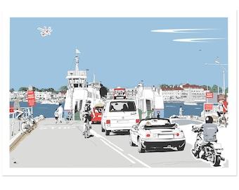 Chain Ferry - Dorset coastal artwork by Jim Chambers
