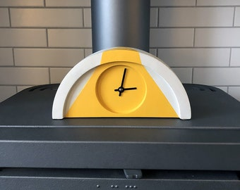 Custom Painted Yellow and Concrete Grey Mantel Piece Shelf Clock by Jim Chambers