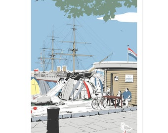 Warrior Fishermen - Portsmouth coastal artwork by Jim Chambers