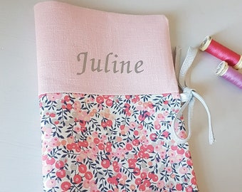 Protects personalized health book in linen and liberty wiltshire scent peas, pink, silver lurex link, flex first name