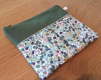 Linen and liberty khaki pouch