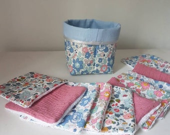 Washable wipes basket, linen cloth basket and Liberty cotton batist, cotton liberty make-up removers, bamboo fiber sponge