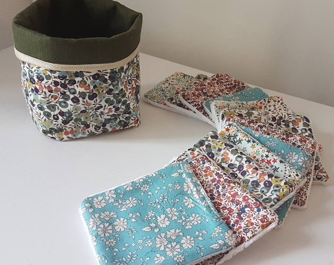 Featured listing image: Washable wipes, 12 white bamboo make-up remover wipes, liberty wiltshire khaki fabric