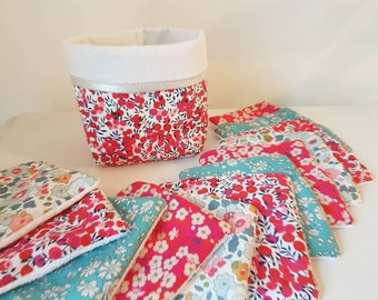 Washable wipes basket // bamboo fiber // red// golden // liberty, cloth basket for washable wipes
