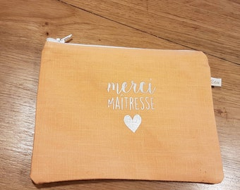 coral linen pouch with message thank you mistress