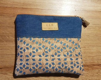 Cork and blue jeans clutch