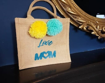 Natural burlap bag with yellow and turquoise pompom, Love Mum, Mother's Day