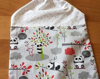 Elastic collar towel or school towel //elasticated bib handmade // towel canteen// grey panda towel
