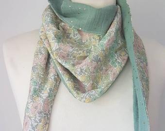 Chèche liberty and double cotton gauze/ Liberty scarf