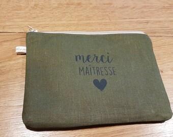 Khaki green linen pouch, master gift kit