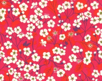 Liberty, Liberty Mitsi fabric, red liberty fabric // tana lawn, Red Liberty MITSI fabric
