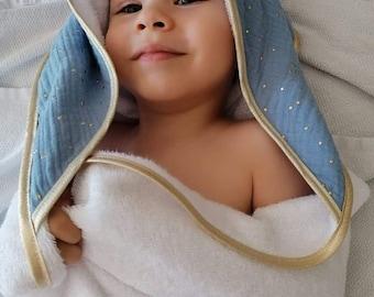 Baby// Baby cotton gauze bathing cape// handmade birth gift