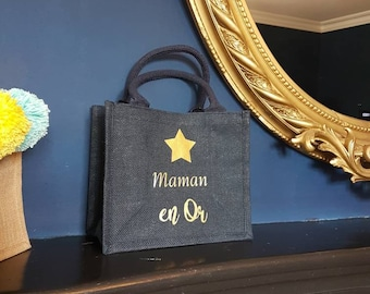 Navy blue burlap bag, gold mom with handles, jute blue tote