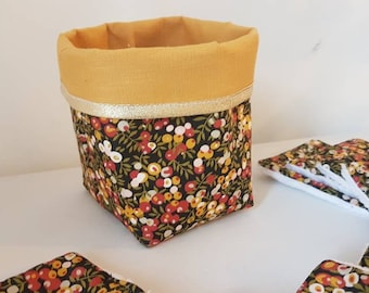 Liberty wiltshire september fabric basket with liberty wipes and bamboo fiber sponge, mustard linen, liberty wiltshire september