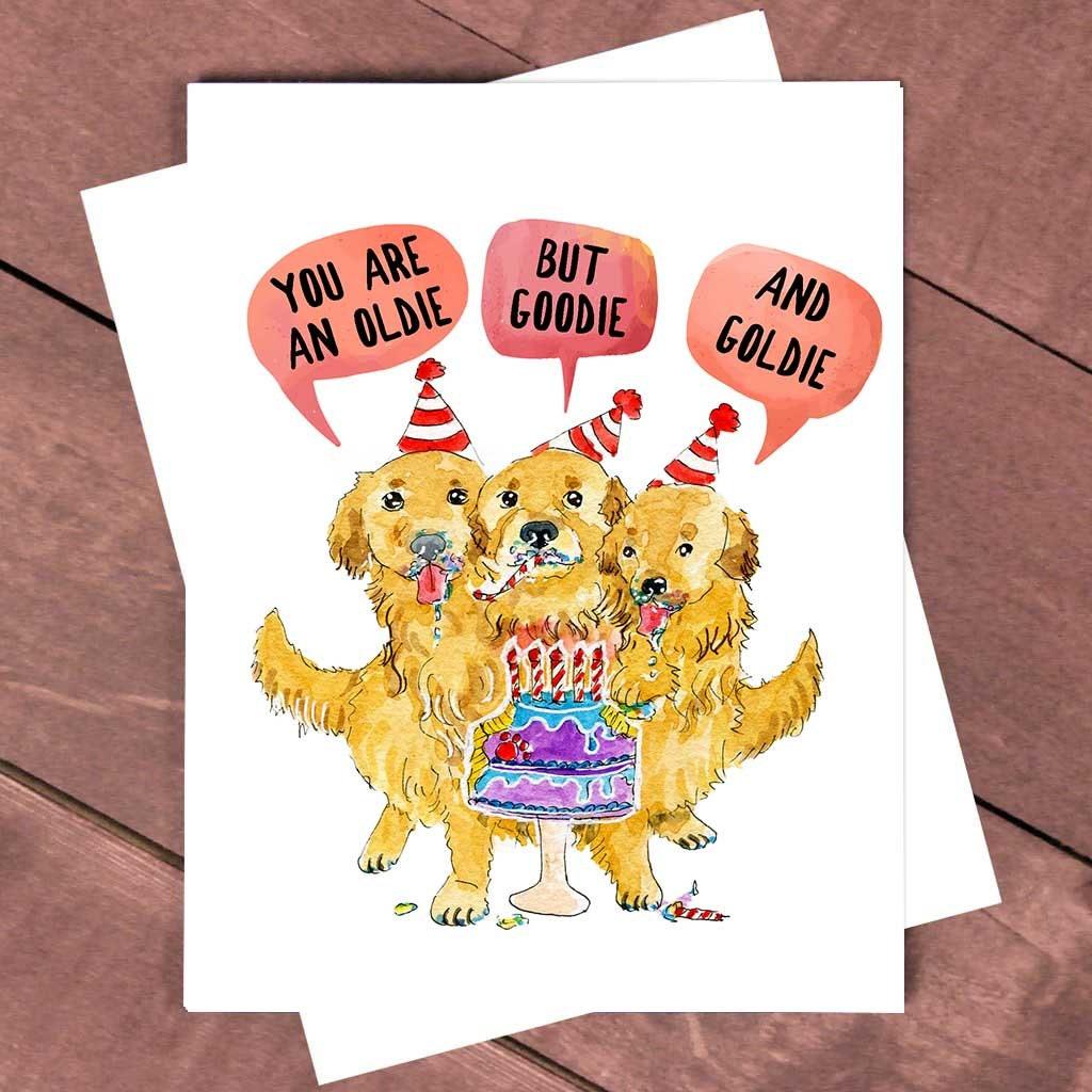 Cerberus Golden Retriever Card 60th 50th Funny Birthday