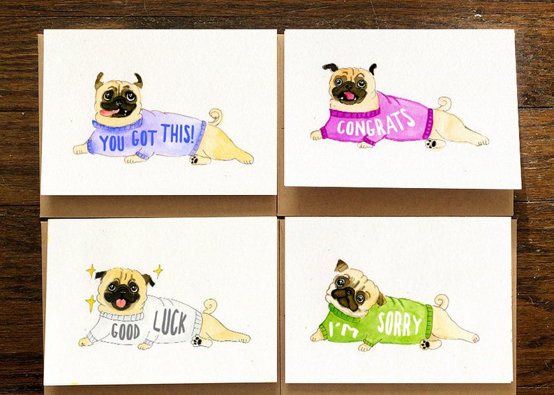 12 Pug Dog Greeting Cards Set For All Occasions