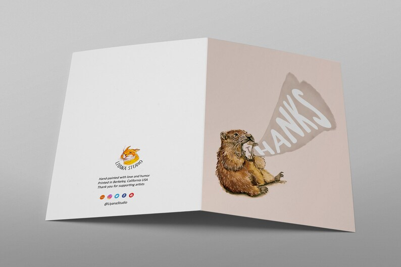 screaming marmot thank you cards funny meme cards for