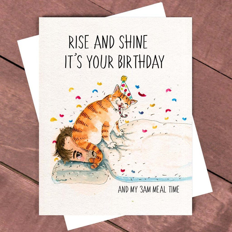 Rise And Shine Grappige Verjaardag Van De Kat Card Boyfriend Etsy