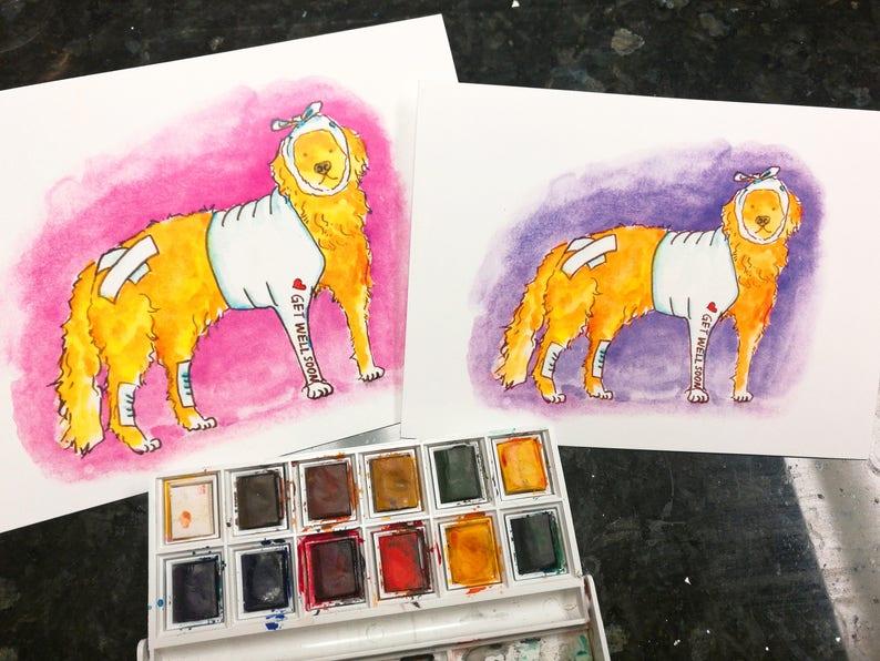Get Well Soon Card Funny Golden Retriever Dog Greeting Card Feel Better Card Funny Get Well Card Get Better Golden Retriever Card Sympathy