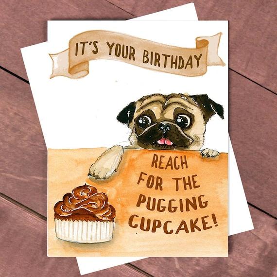 Pugging Mops Geburtstagskarte Geburtstagskarte Etsy