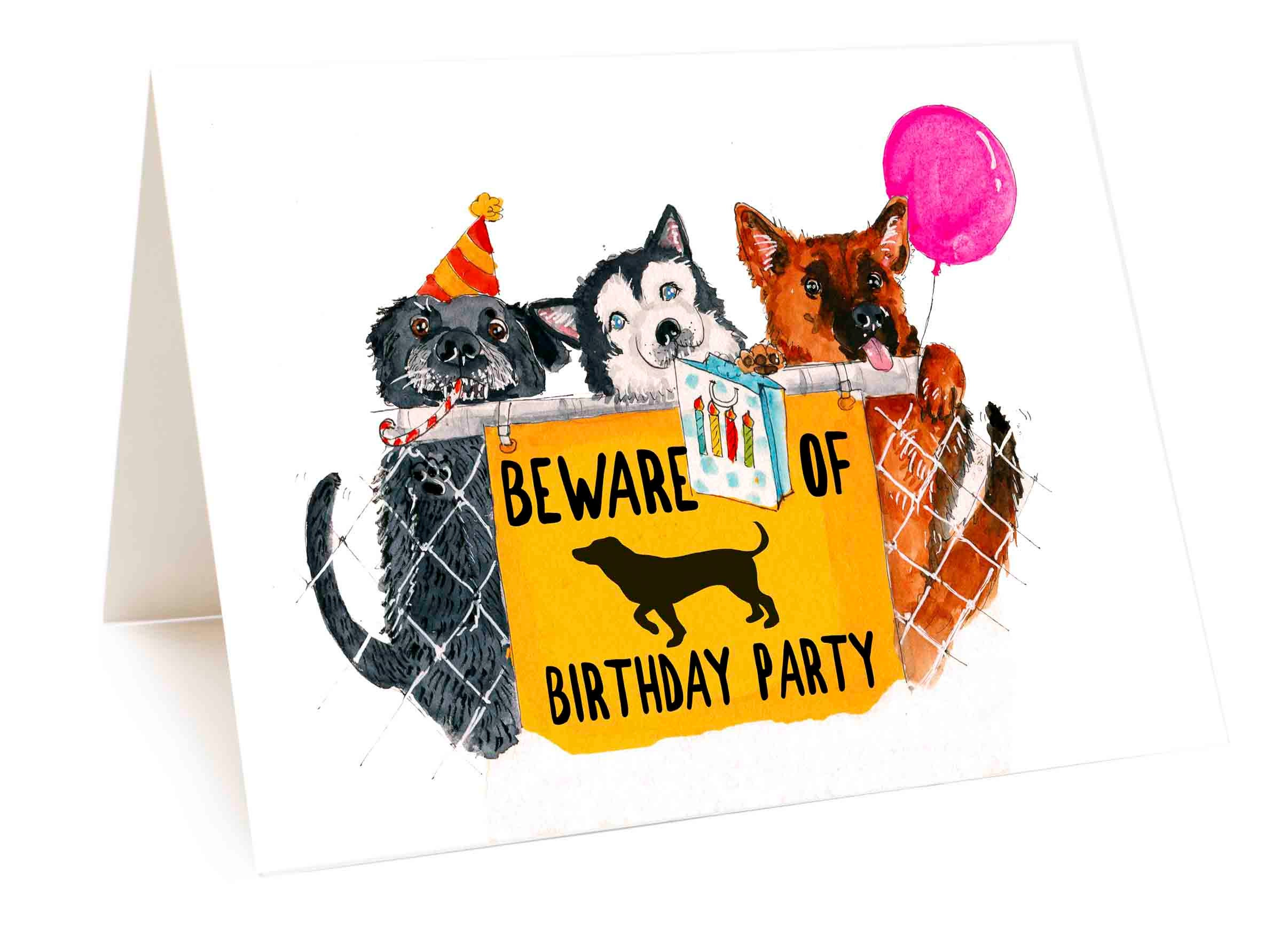 Beware Of Dog Birthday Party Card Funny Birthday Card From The Etsy