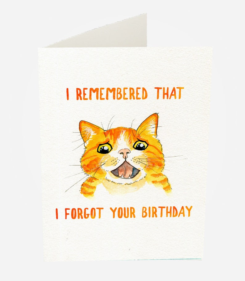 Late Birthday Card Happy Belated Funny Cat