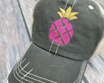 81238d2f Pineapple Baseball Hat, Pineapple Baseball Cap, Pineapple Distressed Trucker  Hat, Pineapple Distressed Trucker Cap, Hats & Caps, Embroidered