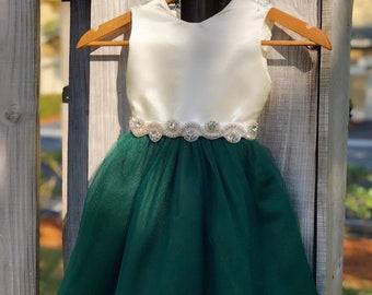 46f7ff8a4d0 Hunter Green Flower Girl Dresses with Rhinestone Sash. Elegant Ivory Satin  and Hunter Tulle Flower Girl Dress. Hunter Green Wedding