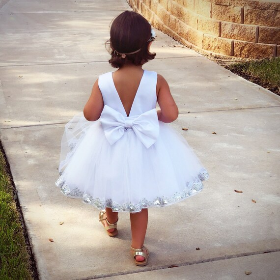 cc9d90a1f2d White Flower Girl Dress Big Bow Flower Girl Dress Flower
