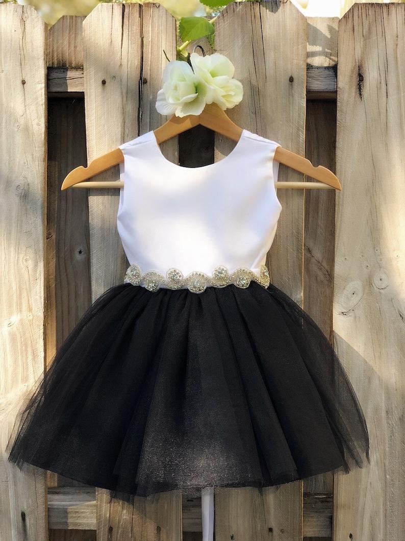 6b2ff62b4 Black Flower Girl Dress with Rhinestone Sash. Elegant White | Etsy