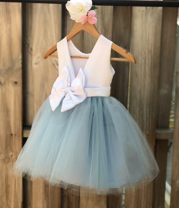 fc1ac047944 Dusty Blue Flower Girl Dress Elegant Satin Tulle Flower Girl