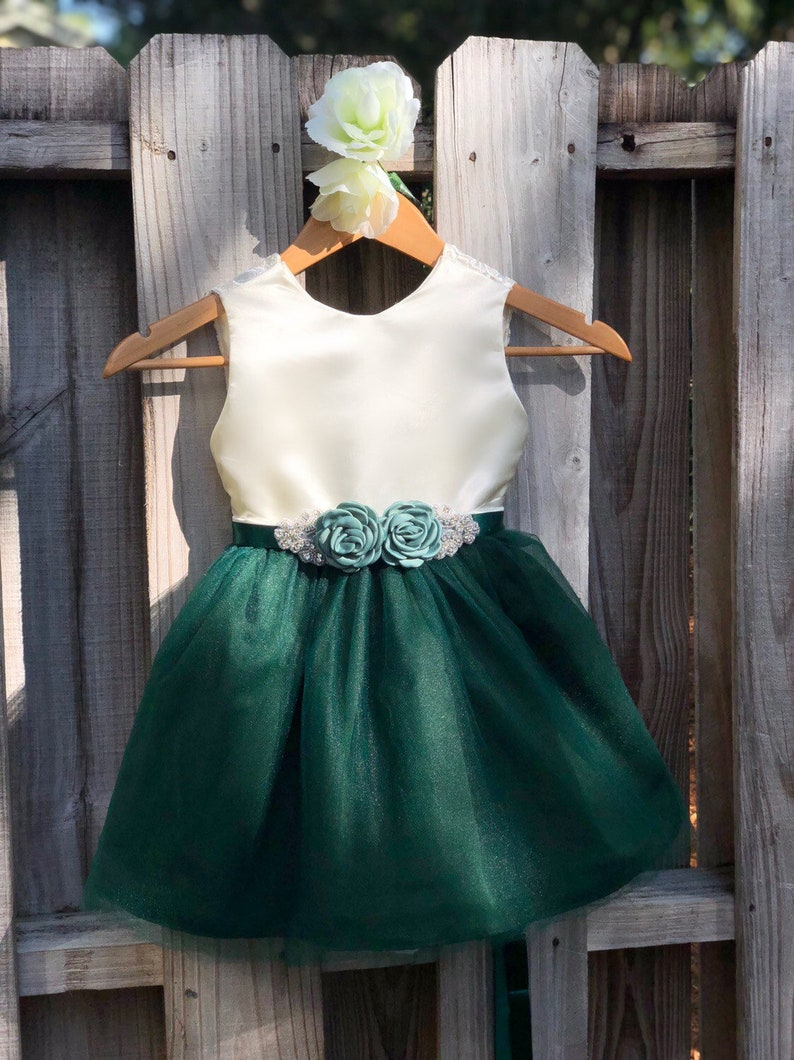 c683c4253 Emerald Green Flower Girl Dress with Rhinestone Flower Sash.   Etsy