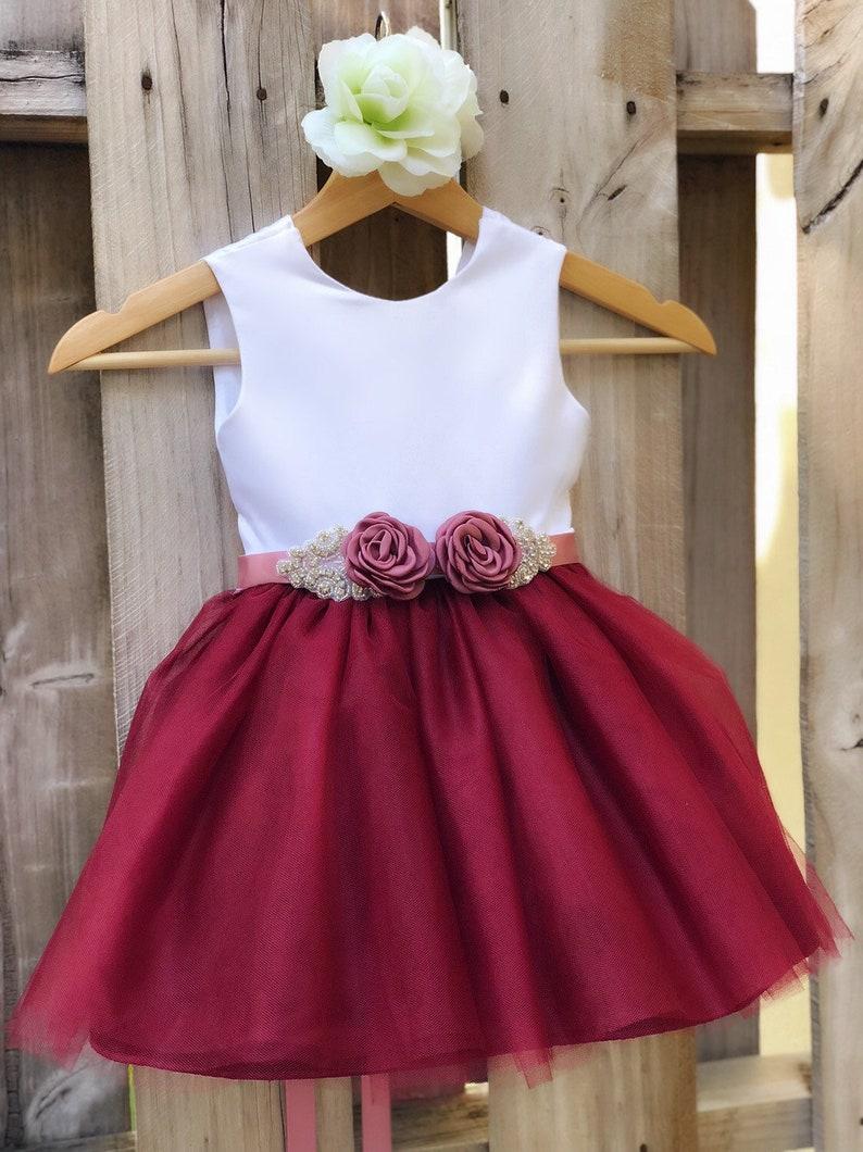 03c07fe31 Burgundy Flower Girl Dress with Rhinestone Flower Sash. | Etsy